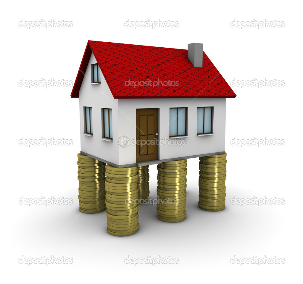 3d house on piles of coins  Stock Photo #3906638