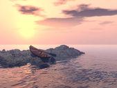 одинокий весельная лодка — Стоковое фото