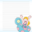 Girl Swimming Notepad — Stock Vector