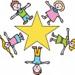 Gold Star Children — Stock Vector