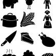 thanksgiving icons - black and white — Stock Vector