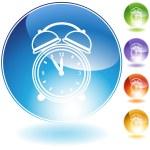 Alarm clock Crystal Icon Set — Stock Vector