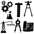 Engineering Icon Set — Stock Vector