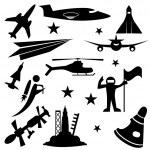 Aerospace Icon Set — Stock Vector