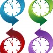 Stock Vector: Clock Backwards