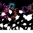Stock Vector: Graduation Fireworks