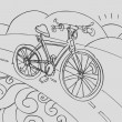 Bicycle Drawing - Stok Vektör