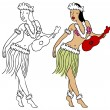 Stock Vector: Hula Girl