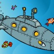 Stock Vector: Submarine Underwater