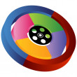 3D Entertainment Wheel - Stock Vector
