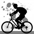 Teenager Riding Bicycle - Stock Vector