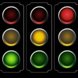 Traffic Light Night — Stock Vector