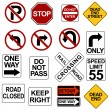Road Sign Set — Imagen vectorial