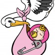 Stock Vector: Stork Delivering Baby Girl