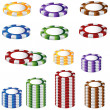 Poker Chip Set — Stock Vector