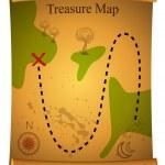 Gold Treasure Map — Stock Vector