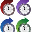 Stockvektor : Forward Clock Arrow Set