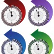 Stock Vector: Backwards Clock Arrow Set
