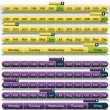 Purple Timeline Chart Set - Stock Vector