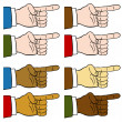 Finger Pointing Set — Stock Vector