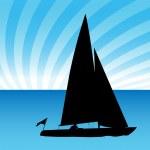 Sailboat Man — Stock Vector