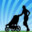 Jogging With Stroller - Stock Vector