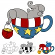 Tea Party Elephant Donations - Stock Vector