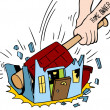 Homeowner Destroying House — Stock Vector