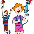 Children Playing Laser Tag — Stock Vector