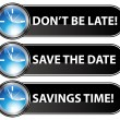 Save The Date Time Button — Stock Vector