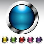 Glossy Button Metallic Set — Stock Vector