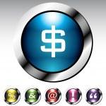 Symbol Glossy Button Metallic Set — Stock Vector