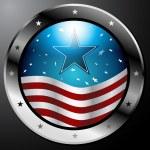 Americká vlajka tlačítko — Stock vektor