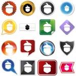 Acorn Icon Set — Stock Vector