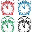 Stock Vector: Alarm Clock Set