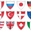 Stock Vector: Flag Shields