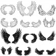 Wings - Black and White - Stock Vector