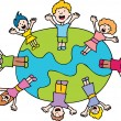 Children Waving Around The World — Stock Vector