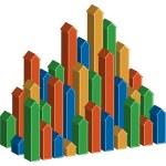 3D Arrows Rising Vertically — Stock Vector #3985265