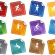 Athletic Square Sticker Buttons — Stock Vector