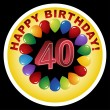 Happy Birthday Icon - Happy 40th - Stock Vector