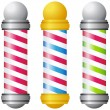 Stock Vector: Barbershop Poles - Gold and Silver