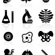 Biology Icon Set - Black — Imagen vectorial
