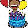 Royalty-Free Stock Vector Image: Birthday Kid with Cake