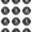 Athletic Buttons - Black Satin - Stock Vector