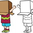 Child with Box over Head — Stock Vector