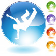 Stock Vector: Breakdancer Kick Crystal Icon