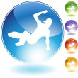Breakdancer Crystal Icon — Stock Vector