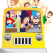 Bus Driver and Riders on Bus — Stock Vector #3985970