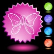 Neon Seal Set - Butterfly - Stock Vector